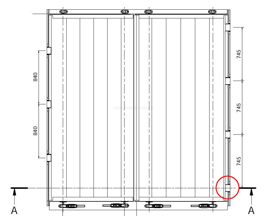 Super Drzwi tylne do kontenera lub naczepy typu firanka WC98